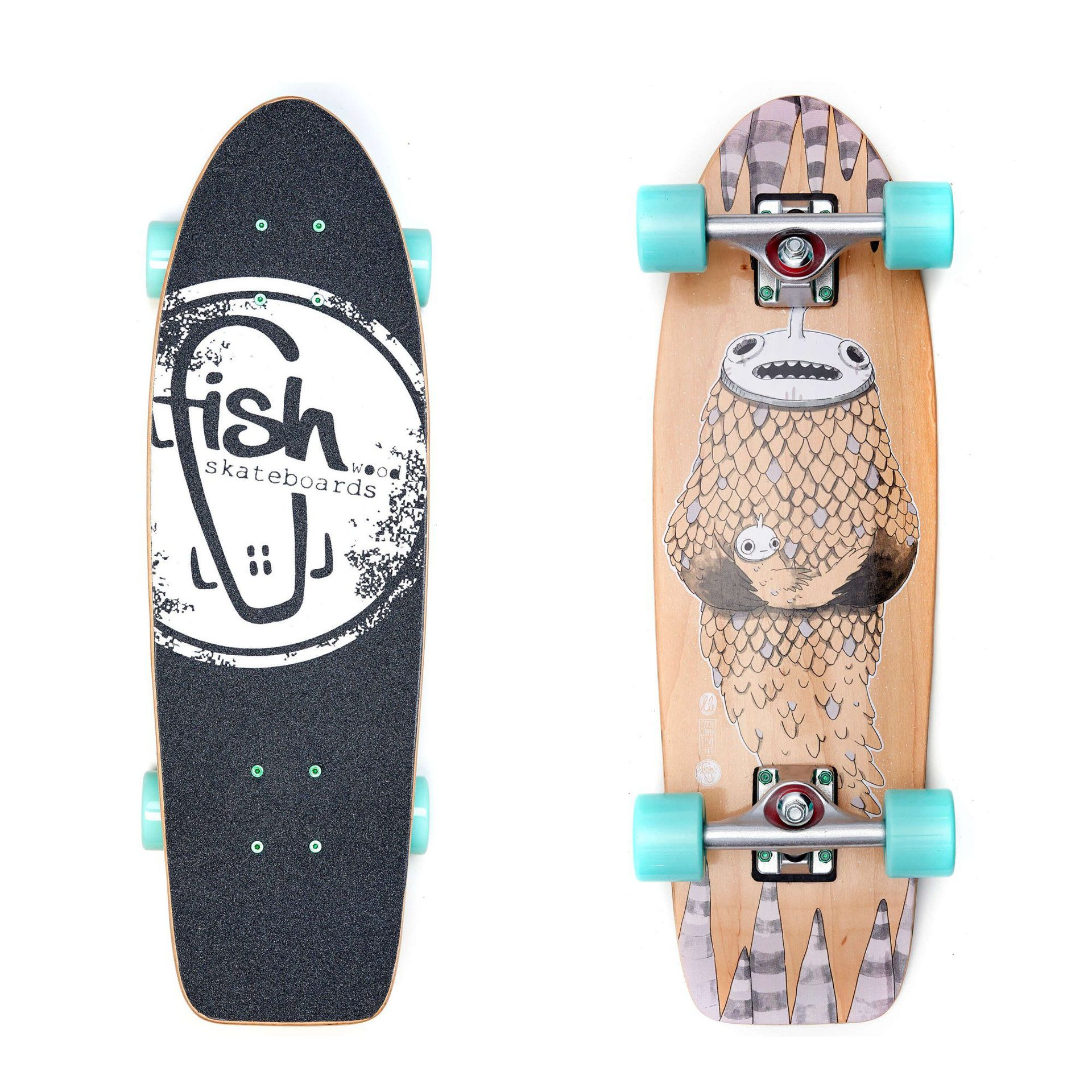 FISHBOARD FISH SKATEBOARDS CRUISER 26 NARWHAL|SILVER|SUMMER GREEN 1