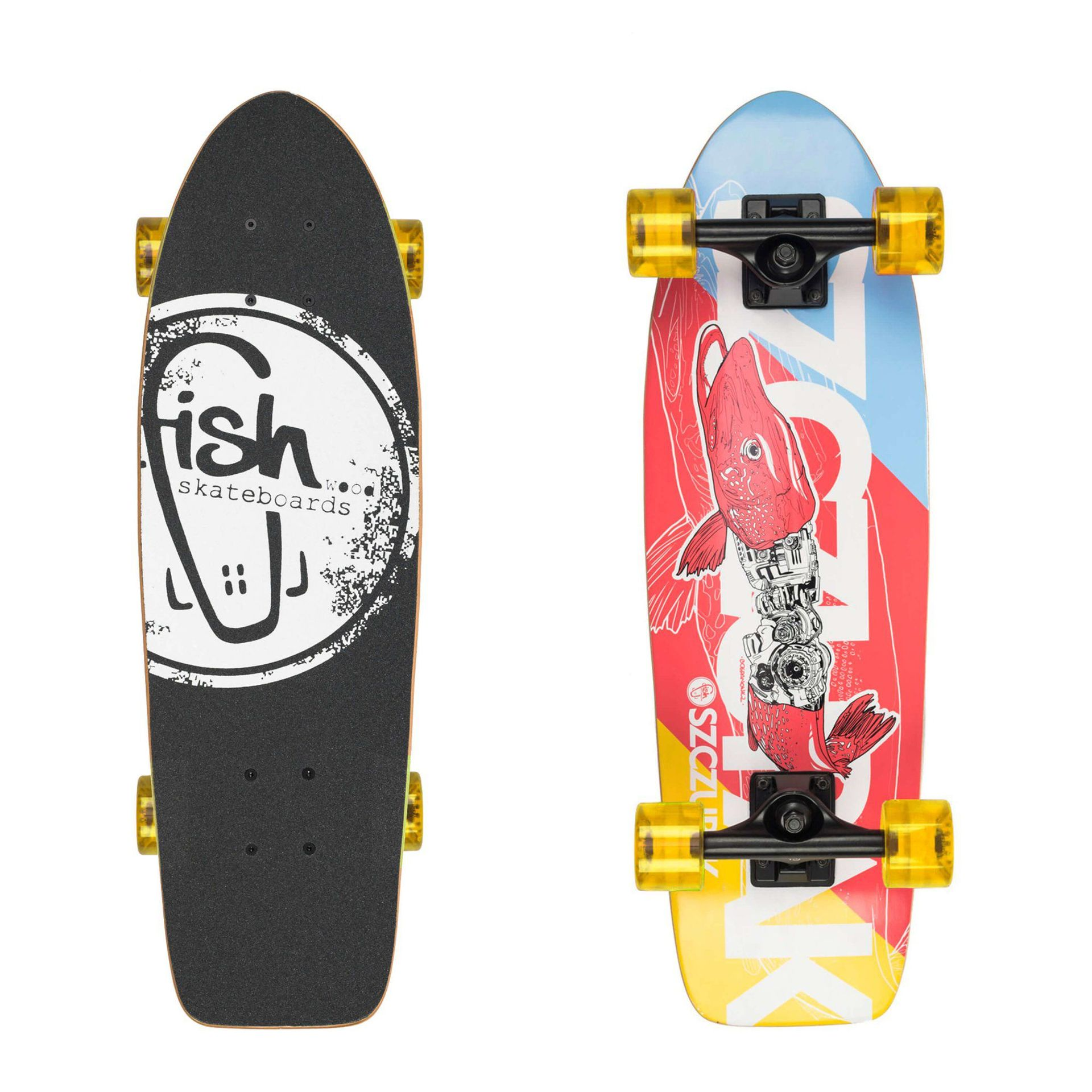 FISHBOARD FISH SKATEBOARDS CRUISER 26 SZCZUPAK|BLACK|TRANSPARENT YELLOW 1