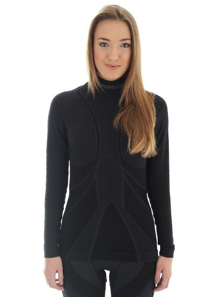 Bluza z długim rękawem Brubeck Extreme Merino Lady czarna
