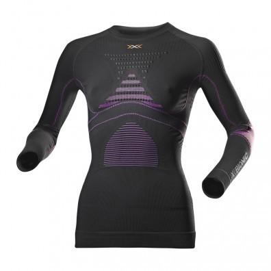 Koszulka damska z długim rękawem  X-Bionic Evo czarno|fioletowa