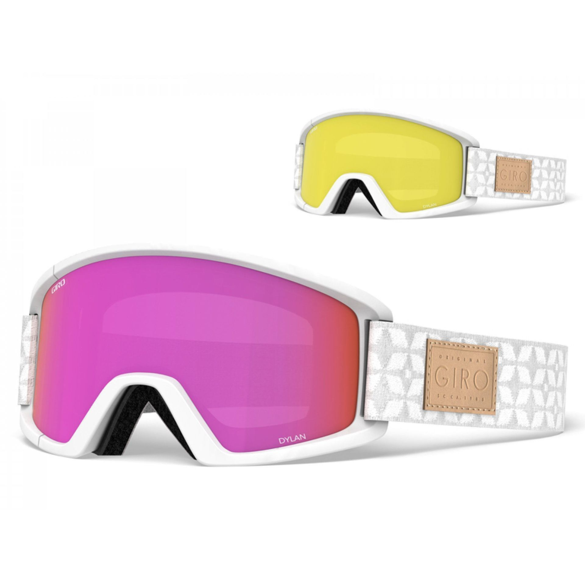 GOGLE GIRO DYLAN WHITE QUILTED|AMBER PINK+YELLOW 1