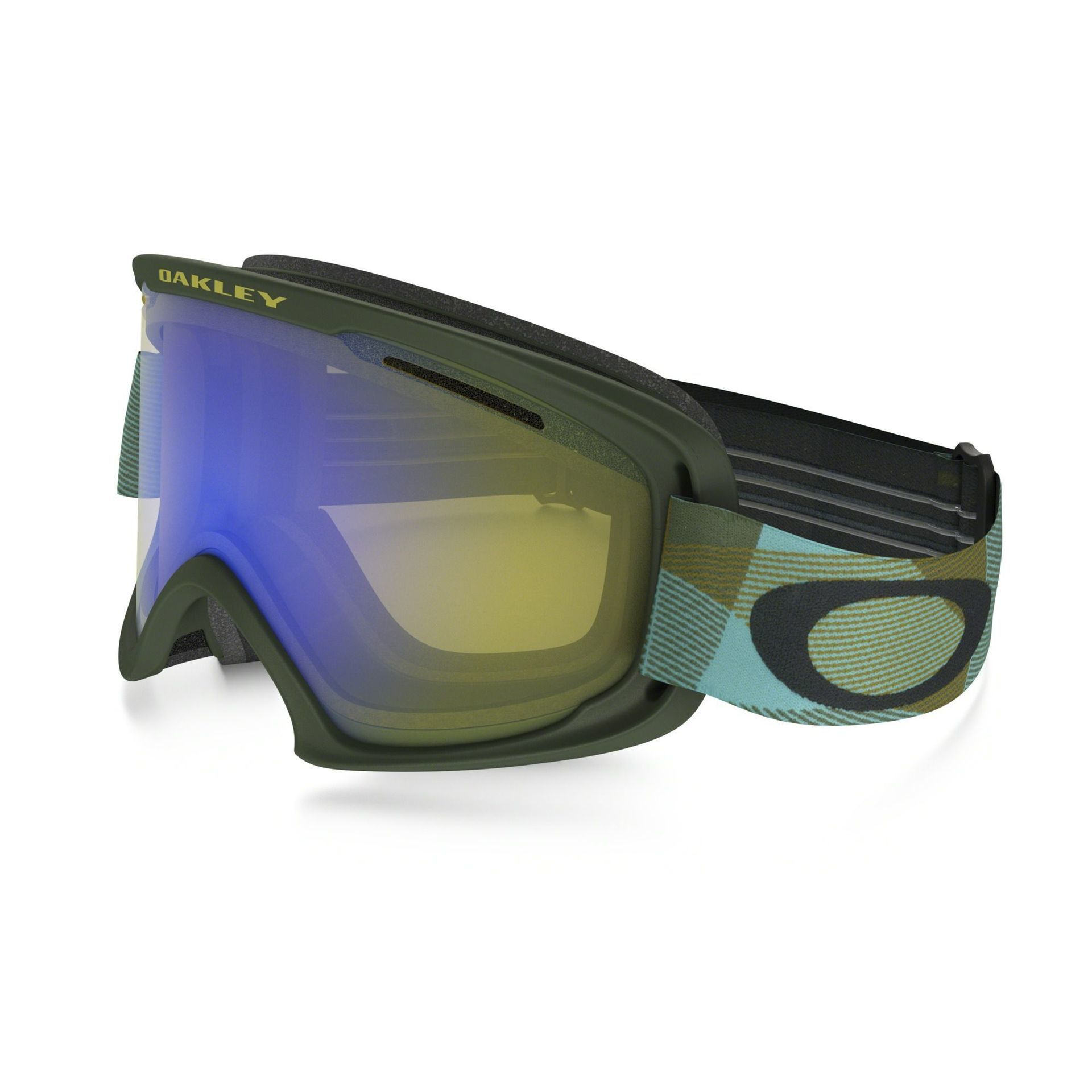 GOGLE OAKLEY O2 XL ABSTRACT LINES BURNISHED BLUE HI YELLOW IRIDIUM