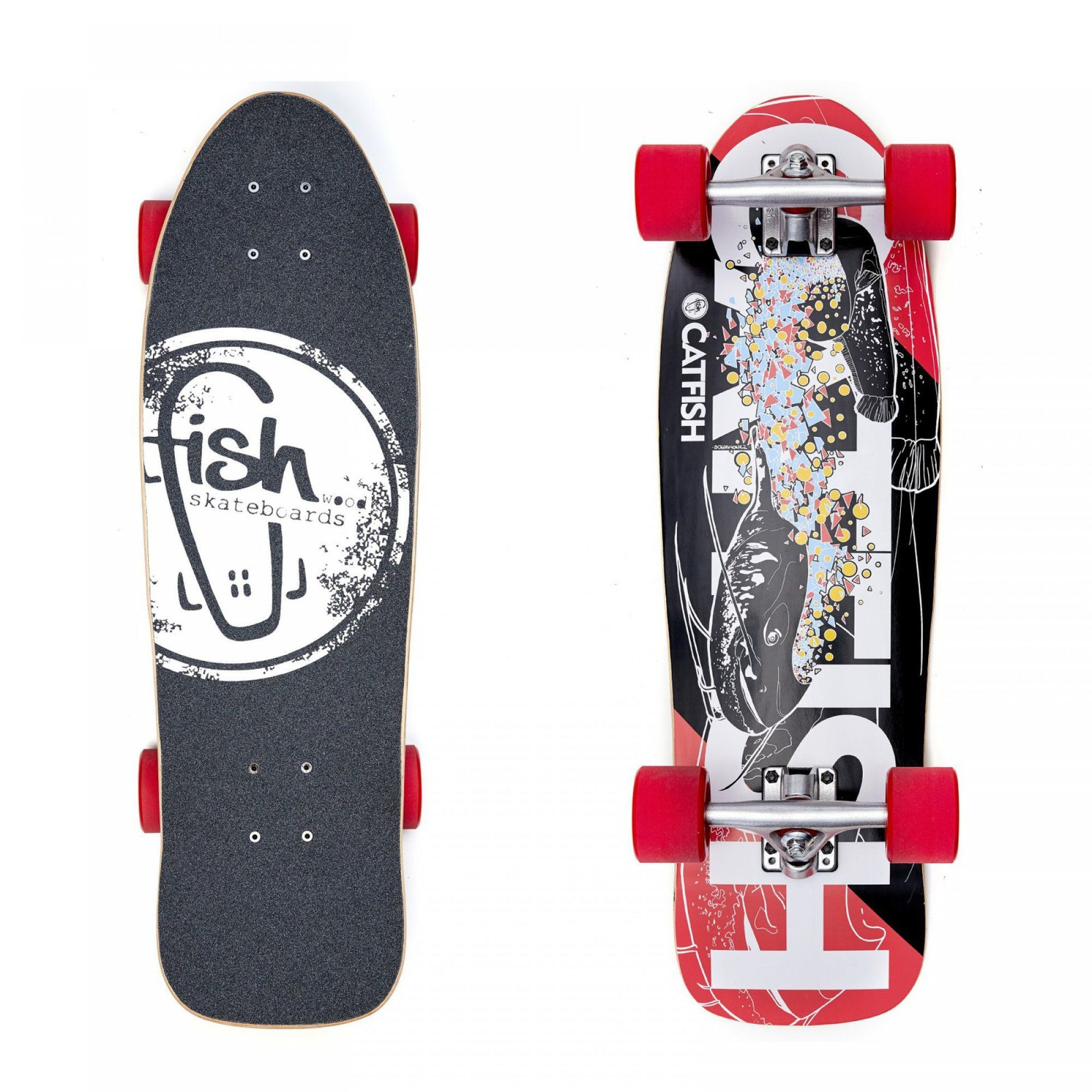 "LONGBOARD FISH SKATEBOARDS CRUISER 28"" SILVER