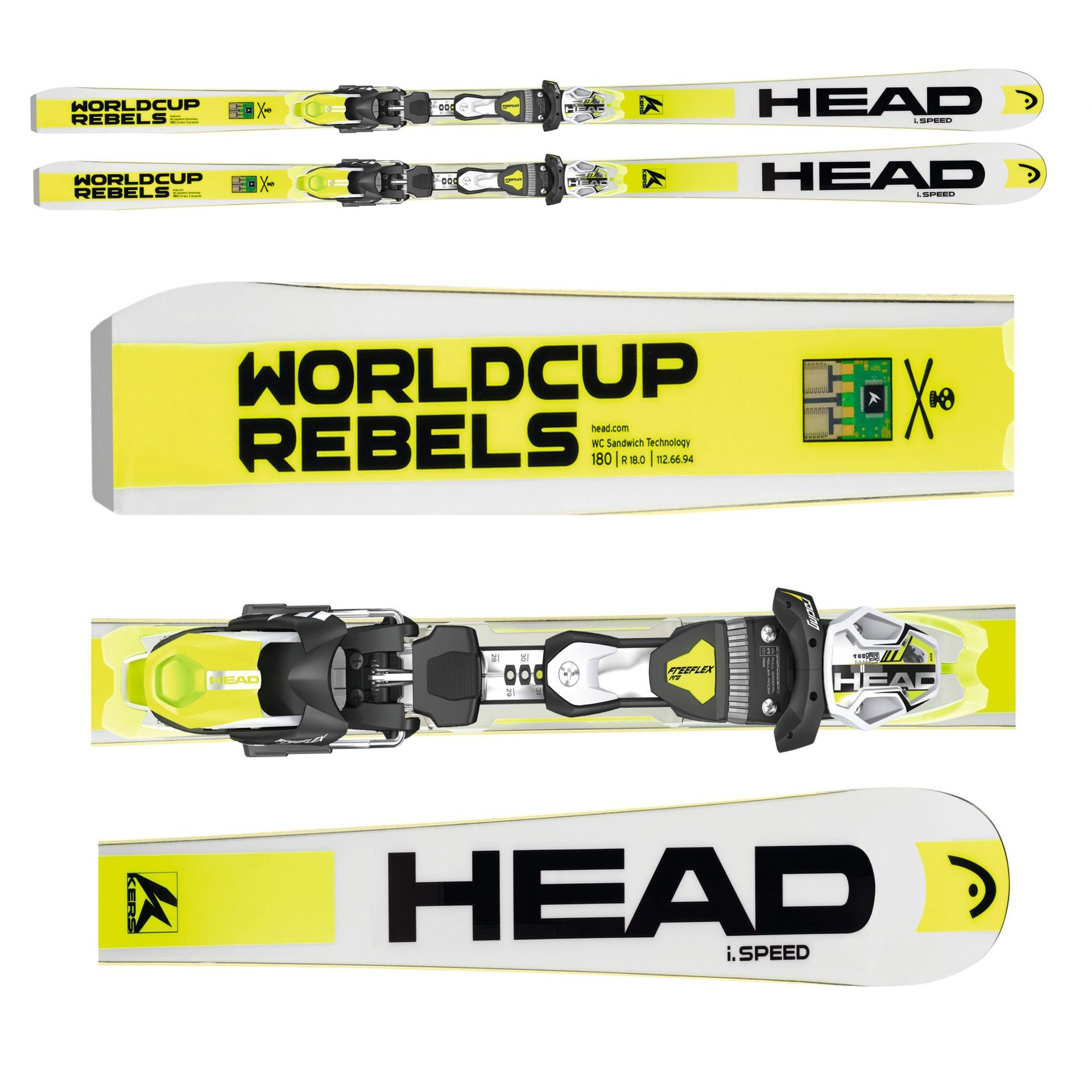 NARTY HEAD WORLDCUP REBELS I.SPEED + WIĄZANIA FREEFLEX PRO 14 BRAKE 85