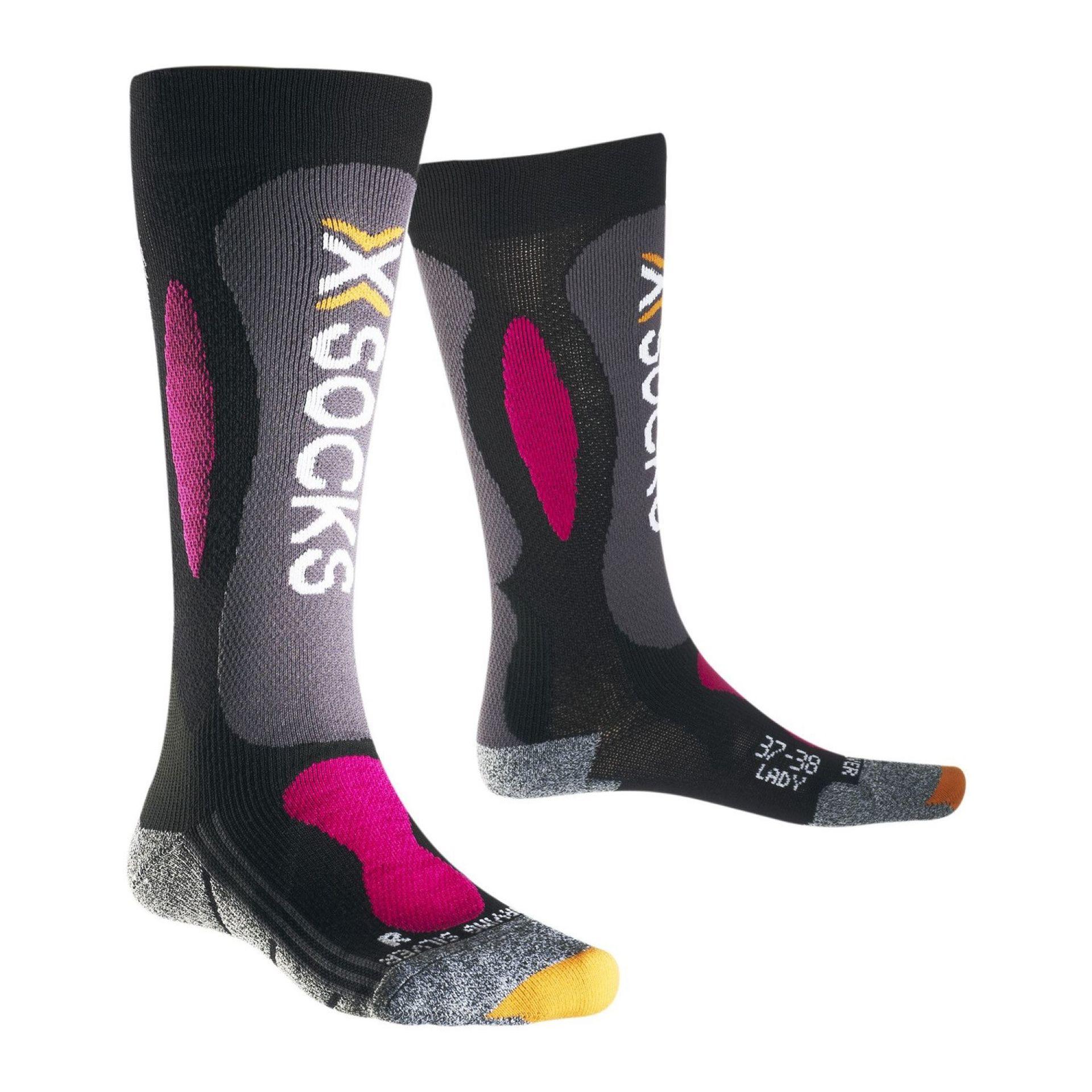 SKARPETY X-SOCKS SKI CARVING SILVER LADY CZARNY|FUKSJA