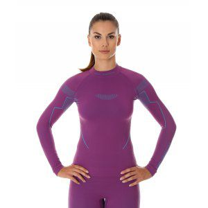 BLUZA BRUBECK THERMO LS13100 FIOLETOWY