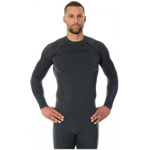 BLUZA BRUBECK MEN THERMO LS13040 SZARY